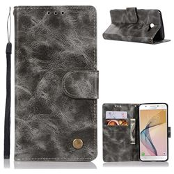 Luxury Retro Leather Wallet Case for Samsung Galaxy J5 2017 US Edition - Gray