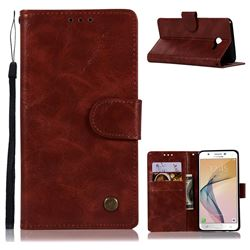 Luxury Retro Leather Wallet Case for Samsung Galaxy J5 2017 US Edition - Wine Red