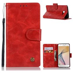 Luxury Retro Leather Wallet Case for Samsung Galaxy J5 2017 US Edition - Red