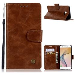 Luxury Retro Leather Wallet Case for Samsung Galaxy J5 2017 US Edition - Brown