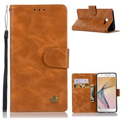 Luxury Retro Leather Wallet Case for Samsung Galaxy J5 2017 US Edition - Golden