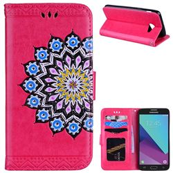 Datura Flowers Flash Powder Leather Wallet Holster Case for Samsung Galaxy J5 2017 US Edition - Rose