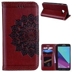 Datura Flowers Flash Powder Leather Wallet Holster Case for Samsung Galaxy J5 2017 US Edition - Brown