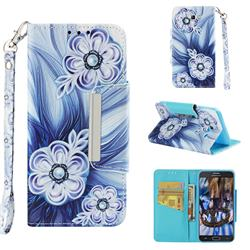 Button Flower Big Metal Buckle PU Leather Wallet Phone Case for Samsung Galaxy J5 2017 US Edition