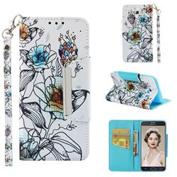 Fotus Flower Big Metal Buckle PU Leather Wallet Phone Case for Samsung Galaxy J5 2017 US Edition