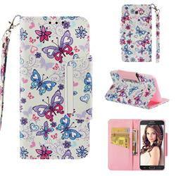Colored Butterfly Big Metal Buckle PU Leather Wallet Phone Case for Samsung Galaxy J5 2017 US Edition