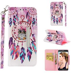 Owl Wind Chimes Big Metal Buckle PU Leather Wallet Phone Case for Samsung Galaxy J5 2017 US Edition