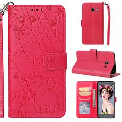 Embossing Fireworks Elephant Leather Wallet Case for Samsung Galaxy J5 2017 US Edition - Red