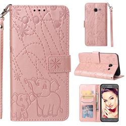 Embossing Fireworks Elephant Leather Wallet Case for Samsung Galaxy J5 2017 US Edition - Rose Gold