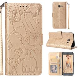 Embossing Fireworks Elephant Leather Wallet Case for Samsung Galaxy J5 2017 US Edition - Golden