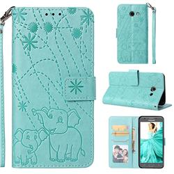 Embossing Fireworks Elephant Leather Wallet Case for Samsung Galaxy J5 2017 US Edition - Green