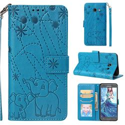 Embossing Fireworks Elephant Leather Wallet Case for Samsung Galaxy J5 2017 US Edition - Blue