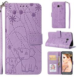 Embossing Fireworks Elephant Leather Wallet Case for Samsung Galaxy J5 2017 US Edition - Purple