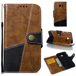 Retro Magnetic Stitching Wallet Flip Cover for Samsung Galaxy J5 2017 US Edition - Brown