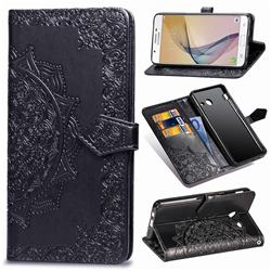 Embossing Imprint Mandala Flower Leather Wallet Case for Samsung Galaxy J5 2017 US Edition - Black