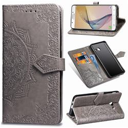Embossing Imprint Mandala Flower Leather Wallet Case for Samsung Galaxy J5 2017 US Edition - Gray
