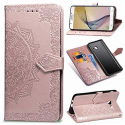 Embossing Imprint Mandala Flower Leather Wallet Case for Samsung Galaxy J5 2017 US Edition - Rose Gold