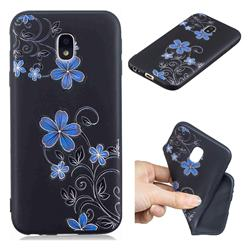 Little Blue Flowers 3D Embossed Relief Black TPU Cell Phone Back Cover for Samsung Galaxy J5 2017 J530 Eurasian
