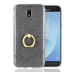Luxury Soft TPU Glitter Back Ring Cover with 360 Rotate Finger Holder Buckle for Samsung Galaxy J5 2017 J530 Eurasian - Black