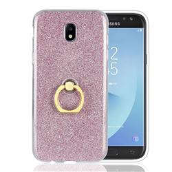 Luxury Soft TPU Glitter Back Ring Cover with 360 Rotate Finger Holder Buckle for Samsung Galaxy J5 2017 J530 Eurasian - Pink