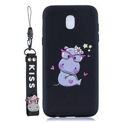Black Flower Hippo Soft Kiss Candy Hand Strap Silicone Case for Samsung Galaxy J5 2017 J530 Eurasian