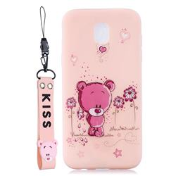 Pink Flower Bear Soft Kiss Candy Hand Strap Silicone Case for Samsung Galaxy J5 2017 J530 Eurasian