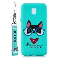 Green Glasses Dog Soft Kiss Candy Hand Strap Silicone Case for Samsung Galaxy J5 2017 J530 Eurasian