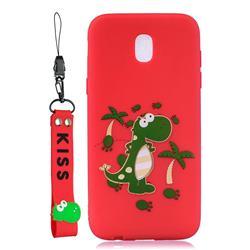 Red Dinosaur Soft Kiss Candy Hand Strap Silicone Case for Samsung Galaxy J5 2017 J530 Eurasian