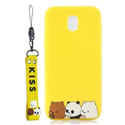 Yellow Bear Family Soft Kiss Candy Hand Strap Silicone Case for Samsung Galaxy J5 2017 J530 Eurasian