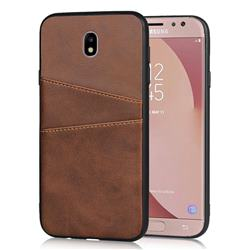 Simple Calf Card Slots Mobile Phone Back Cover for Samsung Galaxy J5 2017 J530 Eurasian - Coffee