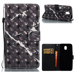 Black Marble 3D Painted Leather Wallet Case for Samsung Galaxy J5 2017 J530