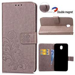 Embossing Imprint Four-Leaf Clover Leather Wallet Case for Samsung Galaxy J5 2017 J530 - Grey