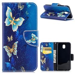 Golden Butterflies Leather Wallet Case for Samsung Galaxy J5 2017 J530