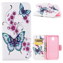 Peach Butterflies Leather Wallet Case for Samsung Galaxy J5 2017 J530