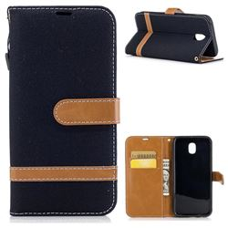 Jeans Cowboy Denim Leather Wallet Case for Samsung Galaxy J5 2017 J530 - Black