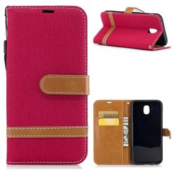 Jeans Cowboy Denim Leather Wallet Case for Samsung Galaxy J5 2017 J530 - Red