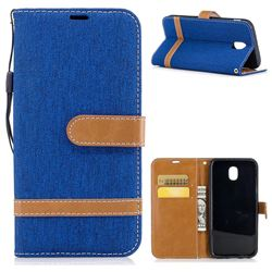 Jeans Cowboy Denim Leather Wallet Case for Samsung Galaxy J5 2017 J530 - Sapphire