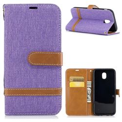 Jeans Cowboy Denim Leather Wallet Case for Samsung Galaxy J5 2017 J530 - Purple