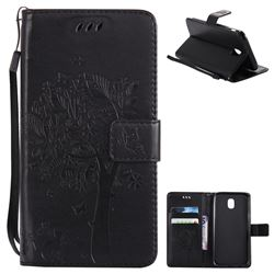 Embossing Butterfly Tree Leather Wallet Case for Samsung Galaxy J5 2017 J530 Eurasian - Black