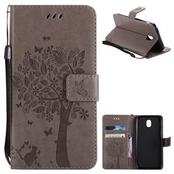 Embossing Butterfly Tree Leather Wallet Case for Samsung Galaxy J5 2017 J530 Eurasian - Grey