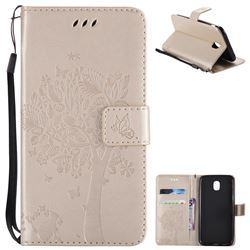 Embossing Butterfly Tree Leather Wallet Case for Samsung Galaxy J5 2017 J530 Eurasian - Champagne