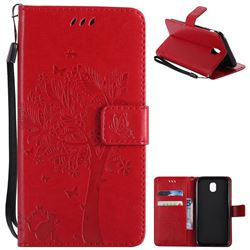 Embossing Butterfly Tree Leather Wallet Case for Samsung Galaxy J5 2017 J530 Eurasian - Red