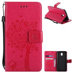 Embossing Butterfly Tree Leather Wallet Case for Samsung Galaxy J5 2017 J530 Eurasian - Rose