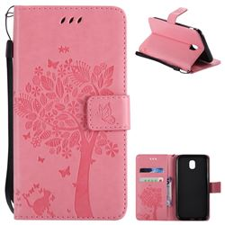 Embossing Butterfly Tree Leather Wallet Case for Samsung Galaxy J5 2017 J530 Eurasian - Pink