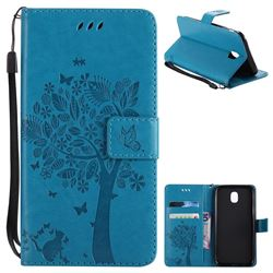 Embossing Butterfly Tree Leather Wallet Case for Samsung Galaxy J5 2017 J530 Eurasian - Blue