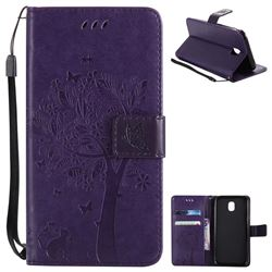 Embossing Butterfly Tree Leather Wallet Case for Samsung Galaxy J5 2017 J530 Eurasian - Purple