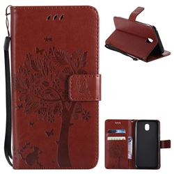 Embossing Butterfly Tree Leather Wallet Case for Samsung Galaxy J5 2017 J530 Eurasian - Brown