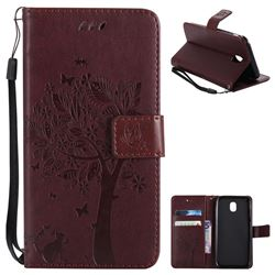 Embossing Butterfly Tree Leather Wallet Case for Samsung Galaxy J5 2017 J530 Eurasian - Coffee