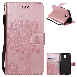 Embossing Butterfly Tree Leather Wallet Case for Samsung Galaxy J5 2017 J530 Eurasian - Rose Pink