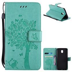 Embossing Butterfly Tree Leather Wallet Case for Samsung Galaxy J5 2017 J530 Eurasian - Cyan